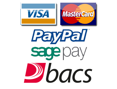 We accept Visa, Mastercard, Solo, Switch, Maestro, Paypal and Sage Pay.